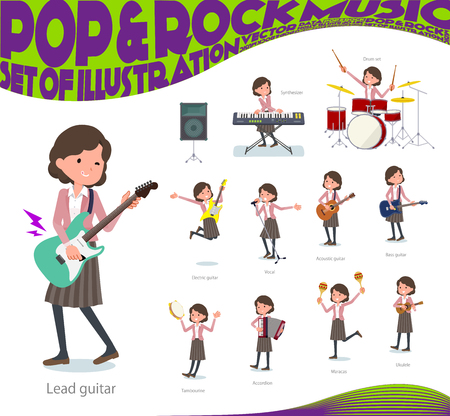 A set of middle women playing rock 'n' roll and pop music.There are also various instruments such as ukulele and tambourine.It's vector art so it's easy to edit.