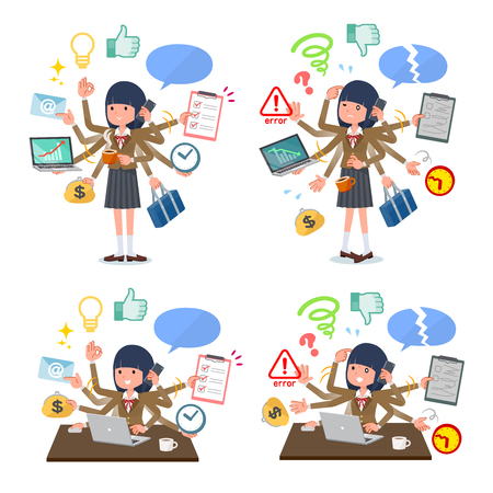 A set of school girl who perform multitasking in the office.There are things to do smoothly and a pattern that is in a panic.It's vector art so it's easy to edit.