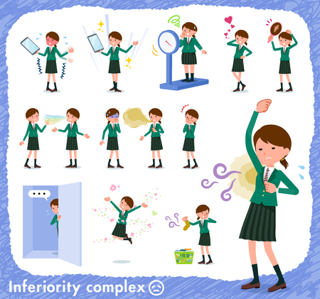 A set of school girl on inferiority complex.There are actions suffering from smell and appearance.Its vector art so its easy to edit.