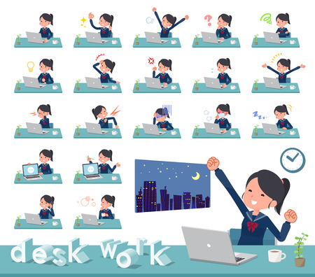 A set of school girl on desk work.There are various actions such as feelings and fatigue.Its vector art so its easy to edit. Ilustração