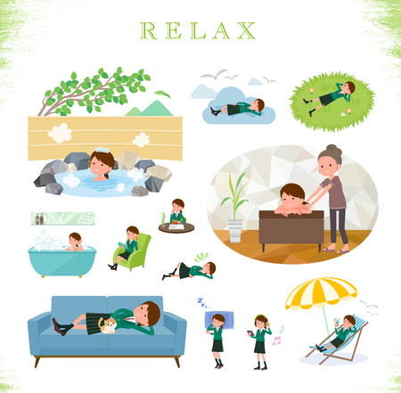 A set of school girl about relaxing.There are actions such as vacation and stress relief.It's vector art so it's easy to edit. Foto de archivo - 111531545