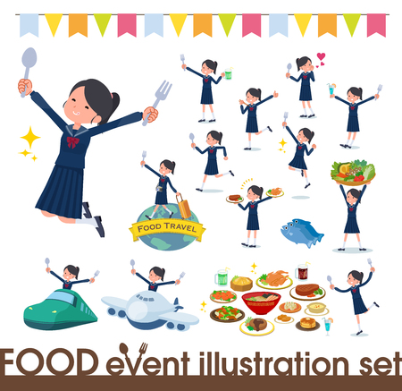 A set of school girl on food events.There are actions that have a fork and a spoon and are having fun.It's vector art so it's easy to edit.