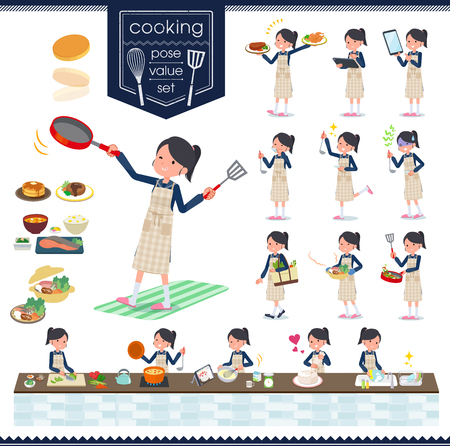 A set of school girl about cooking.There are actions that are cooking in various ways in the kitchen.It's vector art so it's easy to edit. Illustration