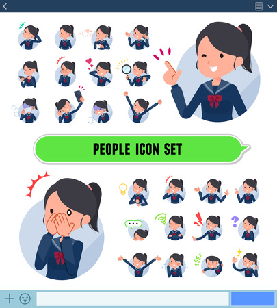 A set of school girl with expresses various emotions on the SNS screen. There are variations of emotions such as joy and sadness. It's vector art so it's easy to edit.