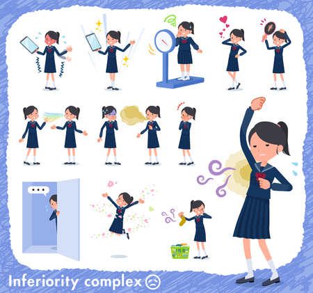 A set of school girl on inferiority complex.There are actions suffering from smell and appearance.It's vector art so it's easy to edit.