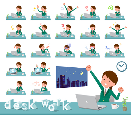 A set of school girl on desk work.There are various actions such as feelings and fatigue.Its vector art so its easy to edit. Illustration