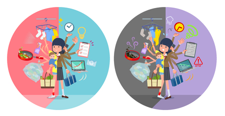 A set of school girl who perform multitasking in offices and private.There are things to do smoothly and a pattern that is in a panic.It's vector art so it's easy to edit. Vettoriali