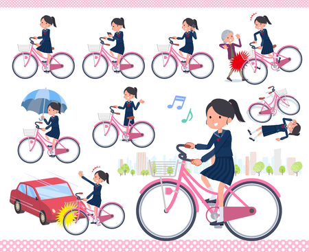 A set of school girl riding a city cycle.There are actions on manners and troubles.Its vector art so its easy to edit.