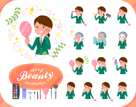 A set of school girl on beauty.There are various actions such as skin care and makeup.It's vector art so it's easy to edit.