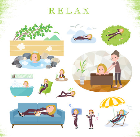 A set of women about relaxing.There are actions such as vacation and stress relief.Its vector art so its easy to edit.