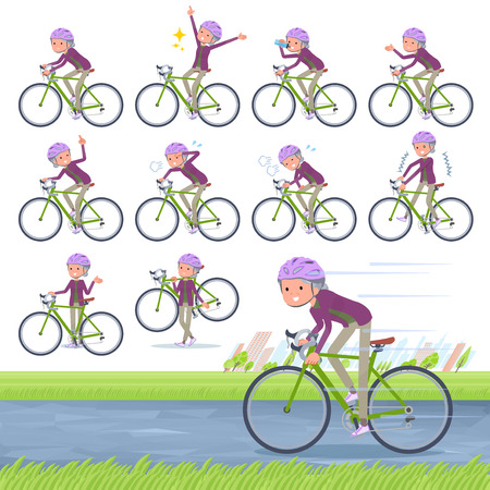 A set of old women on a road bike.There is an action that is enjoying.It's vector art so it's easy to edit. 일러스트