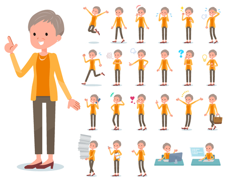 A set of old women with who express various emotions.There are actions related to workplaces and personal computers.Its vector art so its easy to edit. Illustration