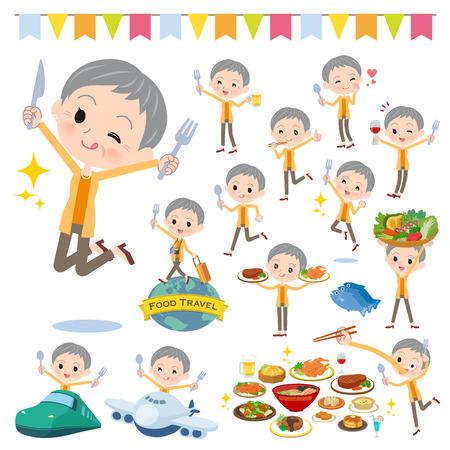 Un conjunto de mujeres en eventos gastronómicos. Hay acciones que tienen un tenedor y una cuchara y se están divirtiendo. Es arte vectorial, por lo que es fácil de editar. Ilustración de vector