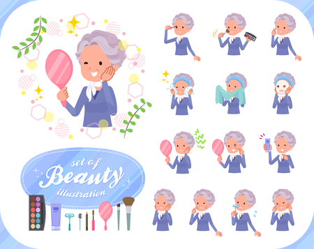 A set of old women on beauty.There are various actions such as skin care and makeup.It's vector art so it's easy to edit.