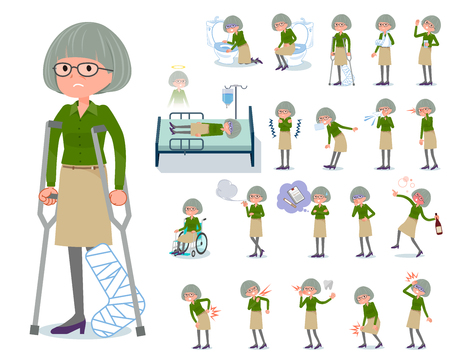 A set of old women with injury and illness.There are actions that express dependence and death.It's vector art so it's easy to edit.