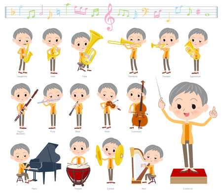 A set of women on classical music performances.There are actions to play various instruments such as string instruments and wind instruments.Its vector art so its easy to edit.  イラスト・ベクター素材