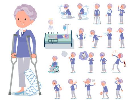 Un conjunto de ancianas con heridas y enfermedades. Hay acciones que expresan dependencia y muerte. Es arte vectorial por lo que es fácil de editar.