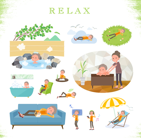 A set of old women about relaxing.There are actions such as vacation and stress relief.Its vector art so its easy to edit.
