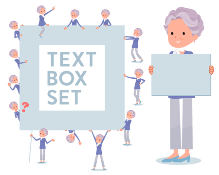 A set of old women with a message board.Since each is divided, you can move it freely.Its vector art so its easy to edit.