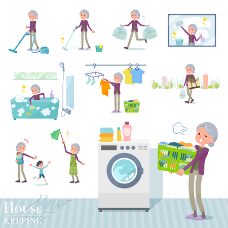 A set of old women related to housekeeping such as cleaning and laundry.There are various actions such as child rearing.It's vector art so it's easy to edit. Ilustração