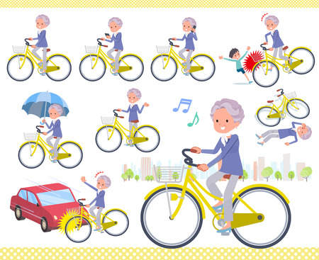 A set of old women riding a city cycle.There are actions on manners and troubles.Its vector art so its easy to edit.