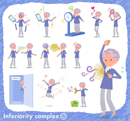 A set of old women on inferiority complex.There are actions suffering from smell and appearance.It's vector art so it's easy to edit.