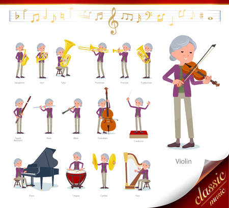 A set of old women on classical music performances.There are actions to play various instruments such as string instruments and wind instruments.Its vector art so its easy to edit.  イラスト・ベクター素材