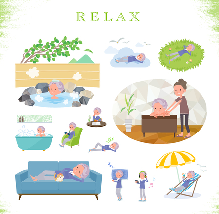 A set of old women about relaxing.There are actions such as vacation and stress relief.It's vector art so it's easy to edit.