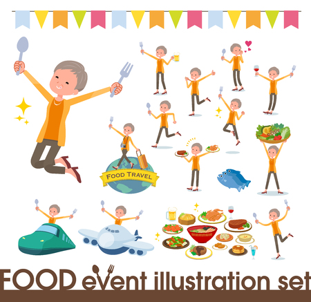 A set of old women on food events.There are actions that have a fork and a spoon and are having fun.Its vector art so its easy to edit.