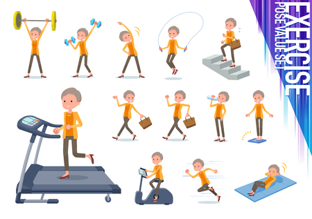 A set of old women on exercise and sports.There are various actions to move the body healthy.It's vector art so it's easy to edit.