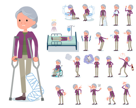 A set of old women with injury and illness.There are actions that express dependence and death.It's vector art so it's easy to edit. Reklamní fotografie - 110237616