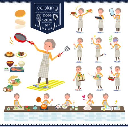Eine Reihe von alten Frauen über das Kochen. Es gibt Aktionen, die auf verschiedene Arten in der Küche kochen. Es ist Vektorgrafiken, so dass es einfach zu bearbeiten ist.