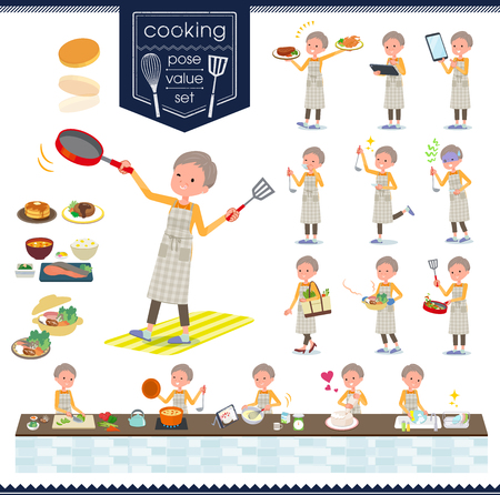 Un ensemble de vieilles femmes sur la cuisine.Il y a des actions qui cuisinent de différentes manières dans la cuisine.C'est de l'art vectoriel, il est donc facile à modifier.