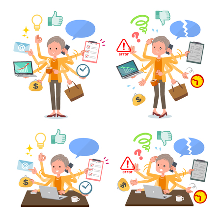 A set of old women who perform multitasking in the office.There are things to do smoothly and a pattern that is in a panic.It's vector art so it's easy to edit.
