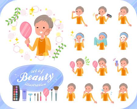 Eine Reihe alter Frauen zum Thema Schönheit. Es gibt verschiedene Aktionen wie Hautpflege und Make-up. Es handelt sich um Vektorgrafiken, die leicht zu bearbeiten sind.