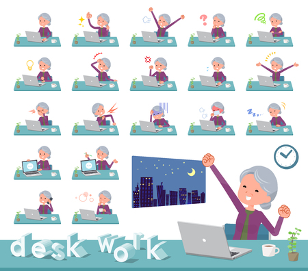 A set of old women on desk work.There are various actions such as feelings and fatigue.Its vector art so its easy to edit.