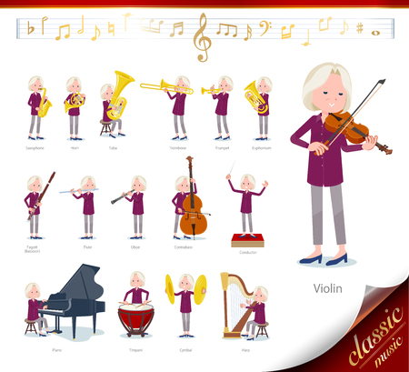 A set of old women on classical music performances. There are actions to play various instruments such as string instruments and wind instruments. Its vector art so its easy to edit.