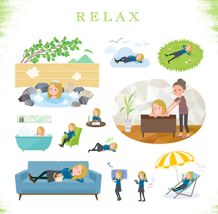 A set of school girl about relaxing.There are actions such as vacation and stress relief.It's vector art so it's easy to edit.