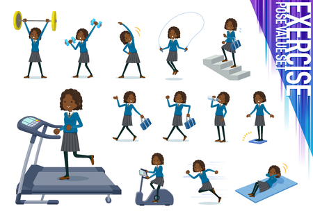 A set of school girl on exercise and sports.There are various actions to move the body healthy.It's vector art so it's easy to edit.