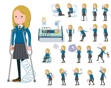 A set of school girl with injury and illness.There are actions that express dependence and death.It's vector art so it's easy to edit.
