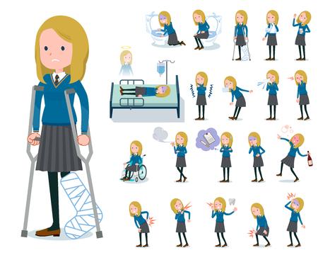 Een set van schoolmeisje met letsel en ziekte. Er zijn acties die afhankelijkheid en dood uitdrukken. Het is vectorkunst, dus het is gemakkelijk te bewerken.