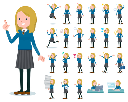 A set of school girl with who express various emotions.There are actions related to workplaces and personal computers.Its vector art so its easy to edit.  イラスト・ベクター素材