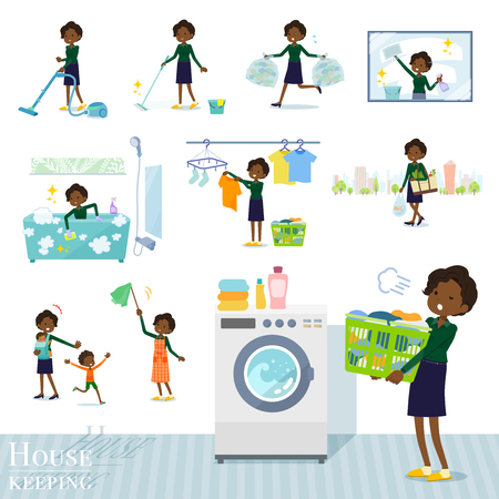 A set of women related to housekeeping such as cleaning and laundry.There are various actions such as child rearing.Its vector art so its easy to edit.