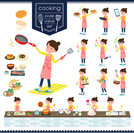 A set of housewife about cooking.There are actions that are cooking in various ways in the kitchen.It's vector art so it's easy to edit.