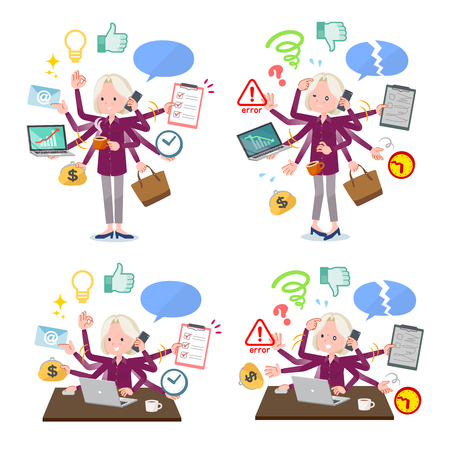 A set of old women who perform multitasking in the office.There are things to do smoothly and a pattern that is in a panic.It's vector art so it's easy to edit. Çizim