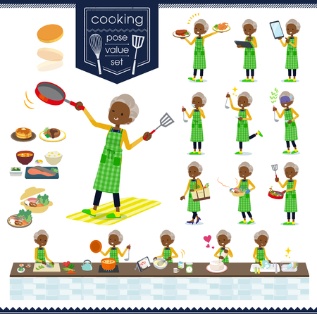 A set of old women about cooking.There are actions that are cooking in various ways in the kitchen.It's vector art so it's easy to edit.