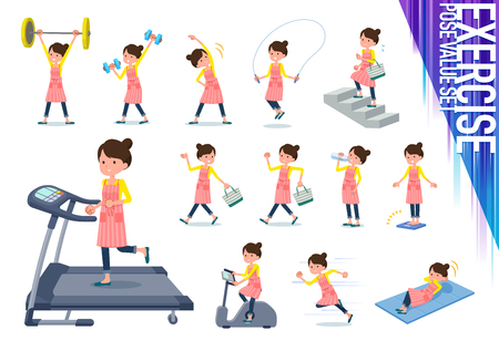 A set of housewife on exercise and sports.There are various actions to move the body healthy.Its vector art so its easy to edit.