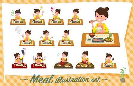 A set of housewife about meals.Japanese and Chinese cuisine, Western style dishes and so on.It's vector art so it's easy to edit.