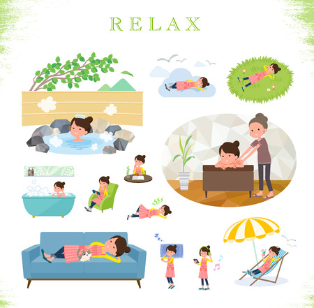 A set of housewife about relaxing.There are actions such as vacation and stress relief.Its vector art so its easy to edit.  イラスト・ベクター素材