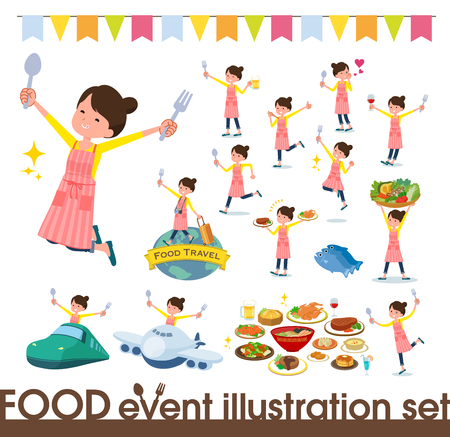 A set of housewife on food events.There are actions that have a fork and a spoon and are having fun.It's vector art so it's easy to edit.  イラスト・ベクター素材